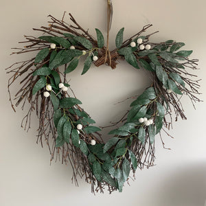 White Berry Willow heart wreath 50cm
