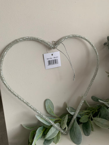 Sparkly Bead Hanging Heart 25cm