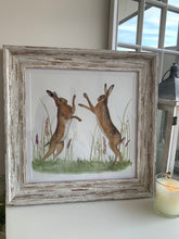 Boxing Hares Framed Plaque
