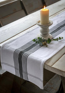 White Woven Ticking Table Runner