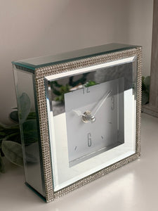 Mirrored clock with sparkling beads
