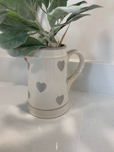 Ceramic Grey Hearts Jug