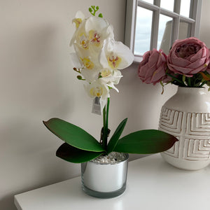 Artificial White Orchid in Mirrored glass pot (2 Sizes)