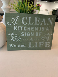 Clean kitchen plaque