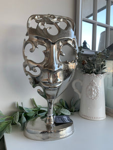 Large Silver Face Sculpture
