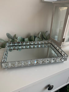 Mirrored Rectangular Tray with Gems (2 Sizes)
