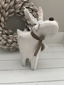 White Wooden Reindeer Figure