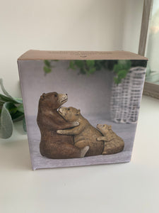 Cuddling Bear Family Boxed Ornament