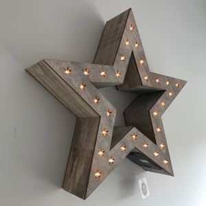 Large Wooden Led Light Up Star Cheshire Homewares