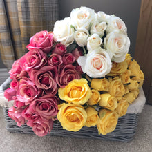 Artificial bunch of roses pink faux roses faux flowers white roses