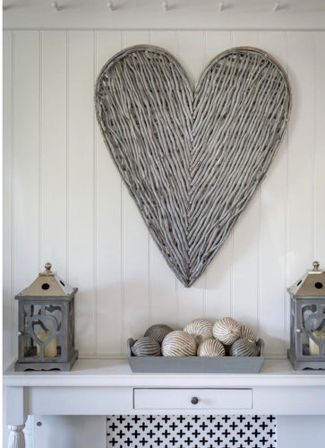Grey Wicker Heart 87cm