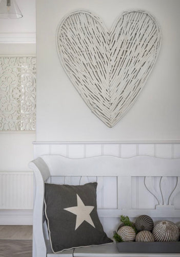 White Wicker Heart 70cm