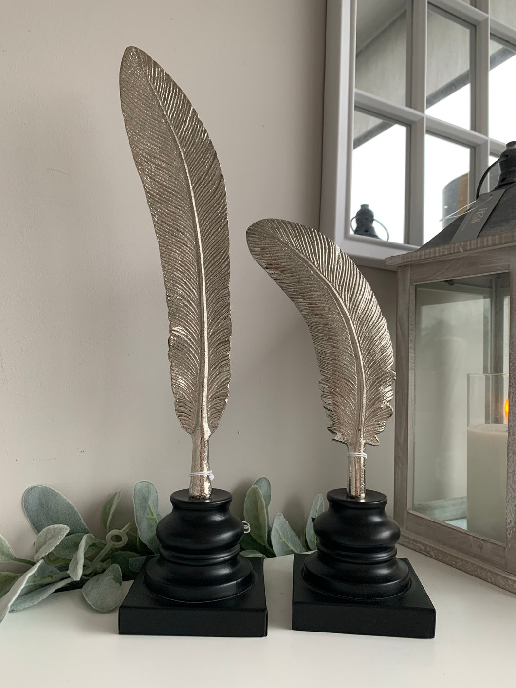 Pair of Tall Silver Feathers