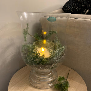 Double Footed Hurricane Glass vase