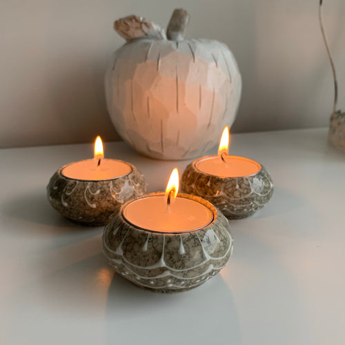 Trio of grey stone Candle Holders