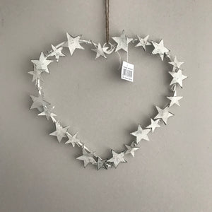 Metal heart wreath with Stars (White)