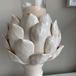 White Artichoke Candle Holder