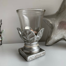 Silver Leaf Stone Hurricane Lamp (2 Sizes)