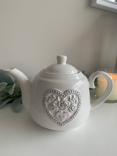 White Heart Teapot