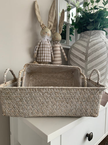 White Seagrass Baskets (Pair)