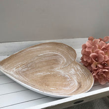 Wooden Shabby Chic Heart shaped dish