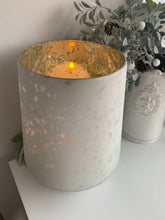 White Etched Glass Candle Holder