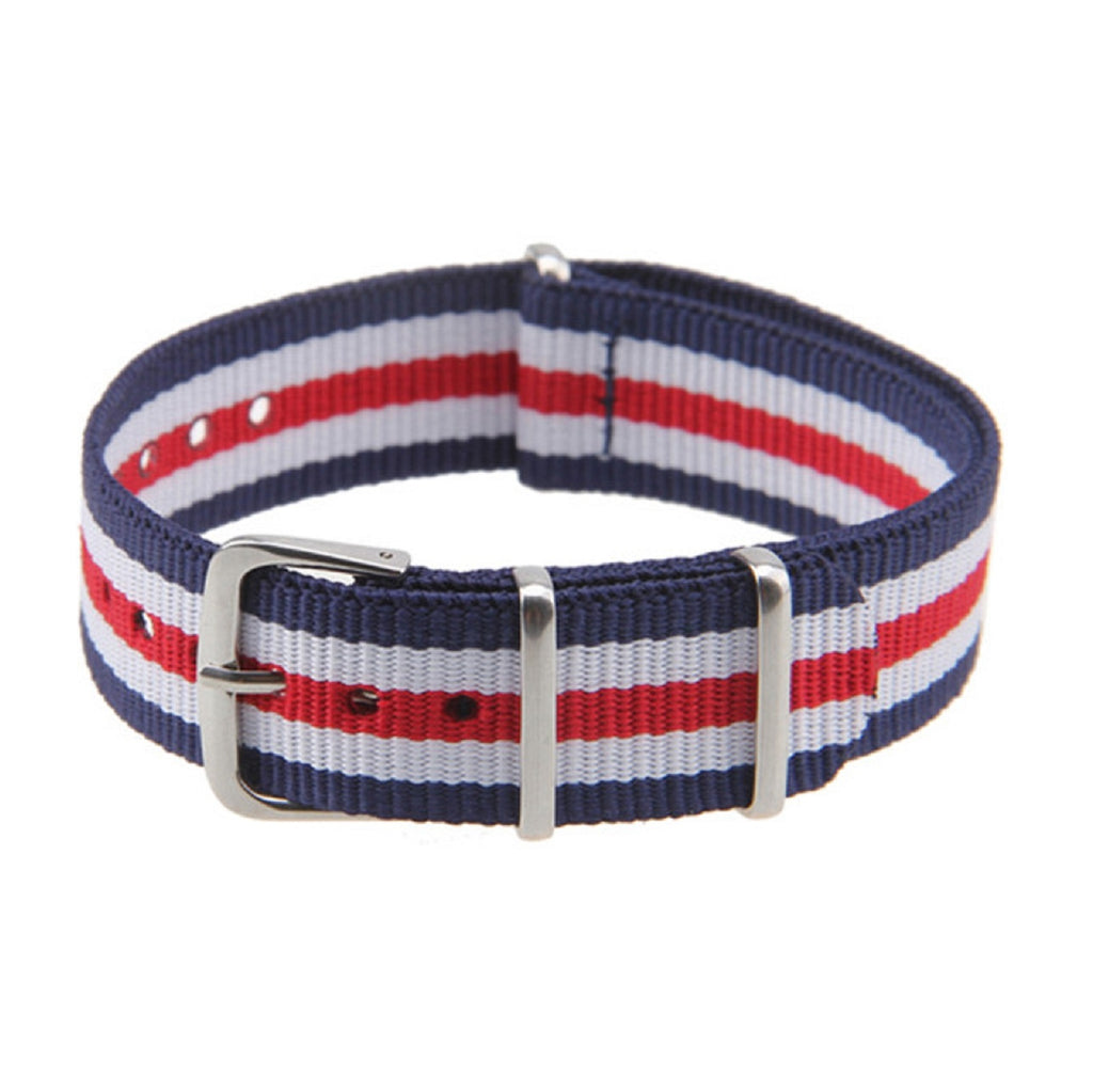Navy White Red NATO Strap (N003)