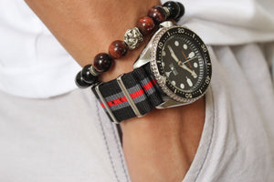Black Grey Red NATO Strap (N008)