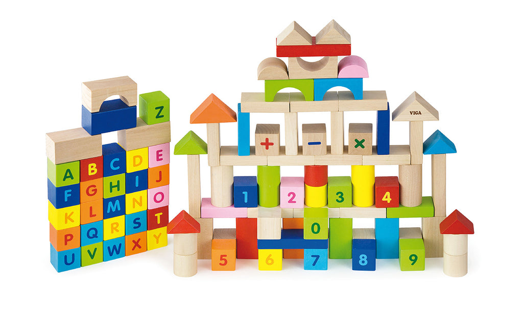 Viga Block Set - Alphabet & Numbers (100Pcs)