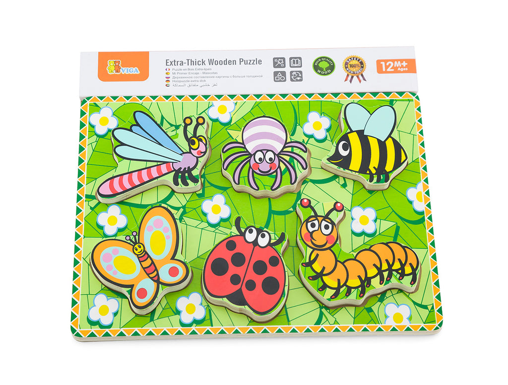 Viga Extra-Thick Wooden Puzzle - Insects