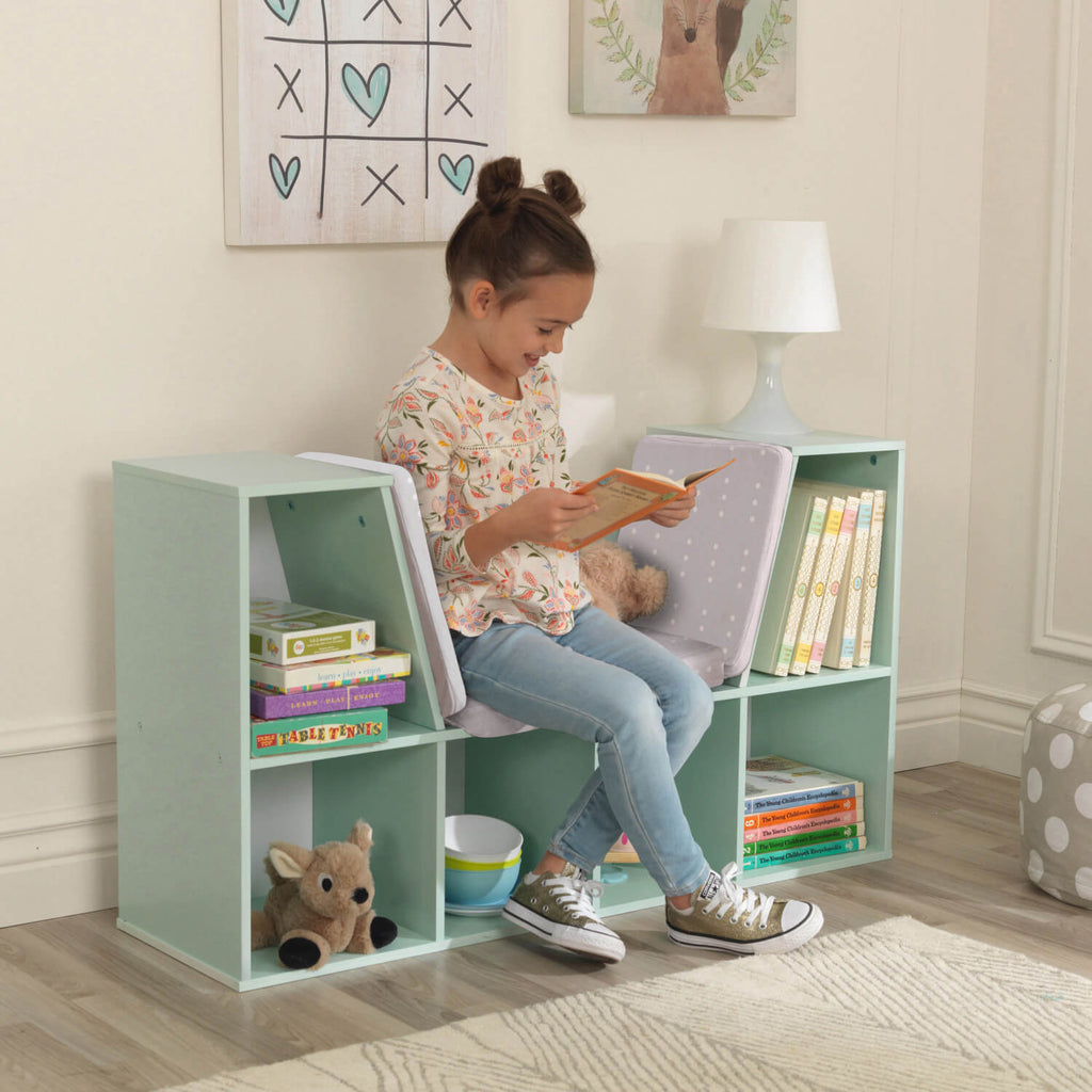 Kidkraft Bookcase with Reading Nook Mint