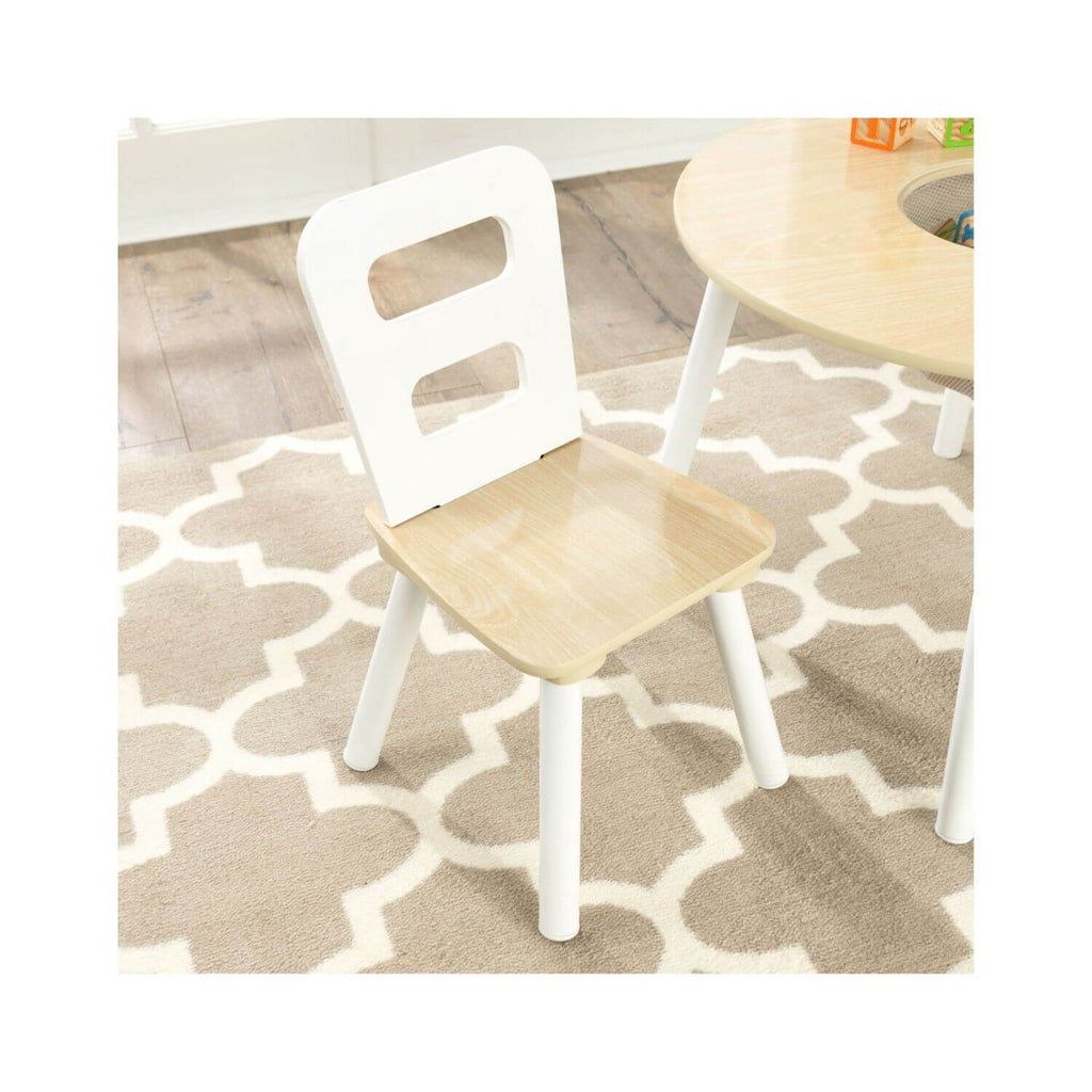 Kidkraft Round Storage Table & 2 Chair Set Natural & White