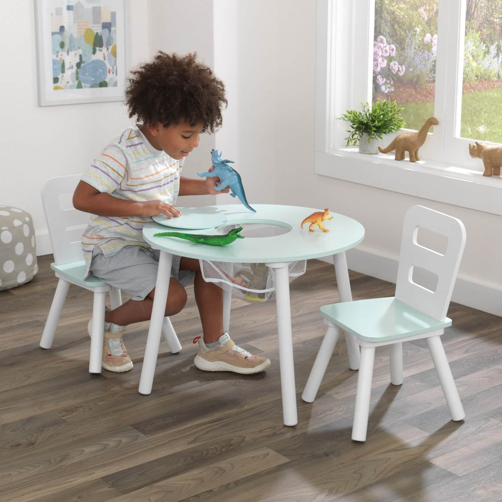 Kidkraft Round Storage Table and 2 Chair Set Mint