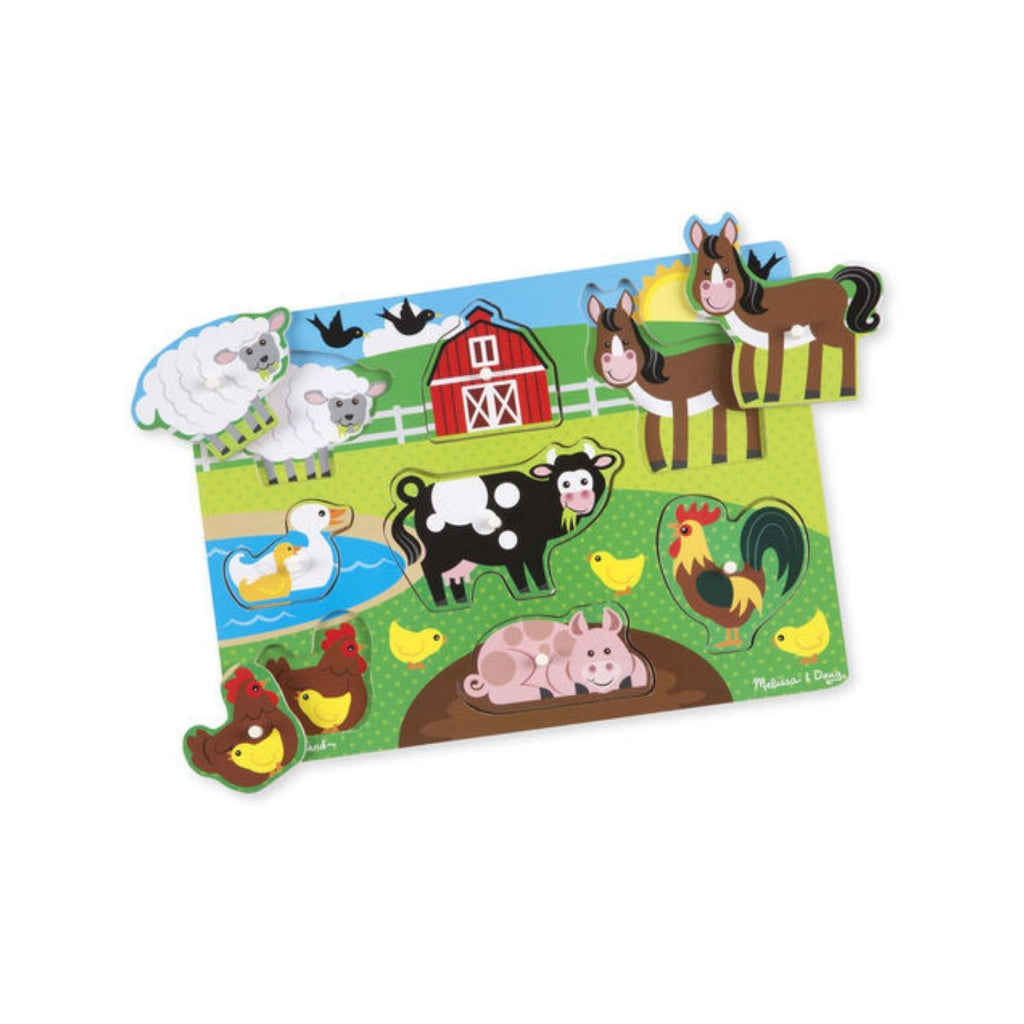 Melissa & Doug Farm Animals Peg Puzzle