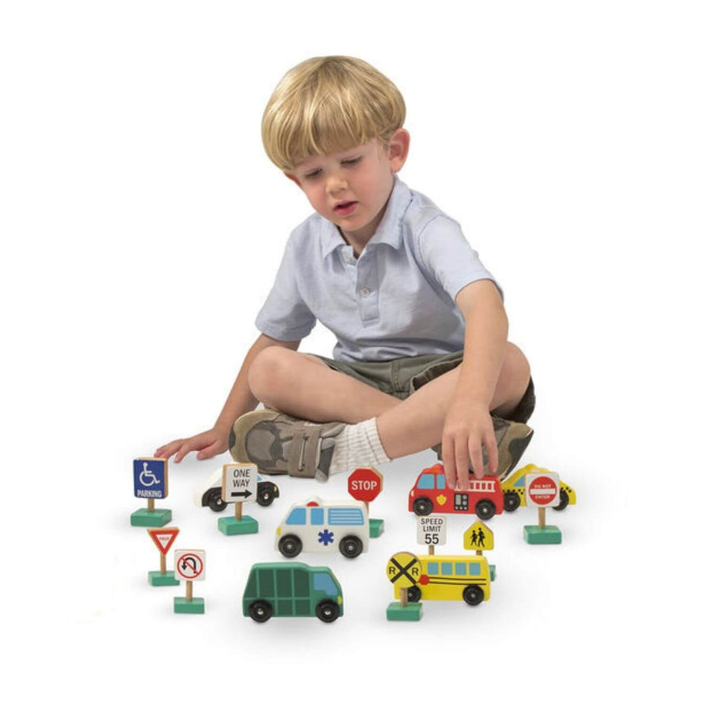 Melissa and Doug Wooden Vehicle and Traffic Signs