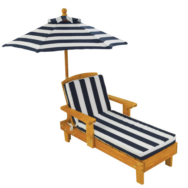Outdoor Chaise with Umbrella - Navy