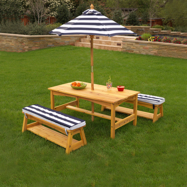 Outdoor Table & Bench Set with Cushions & Umbrella - Navy & White Stripes