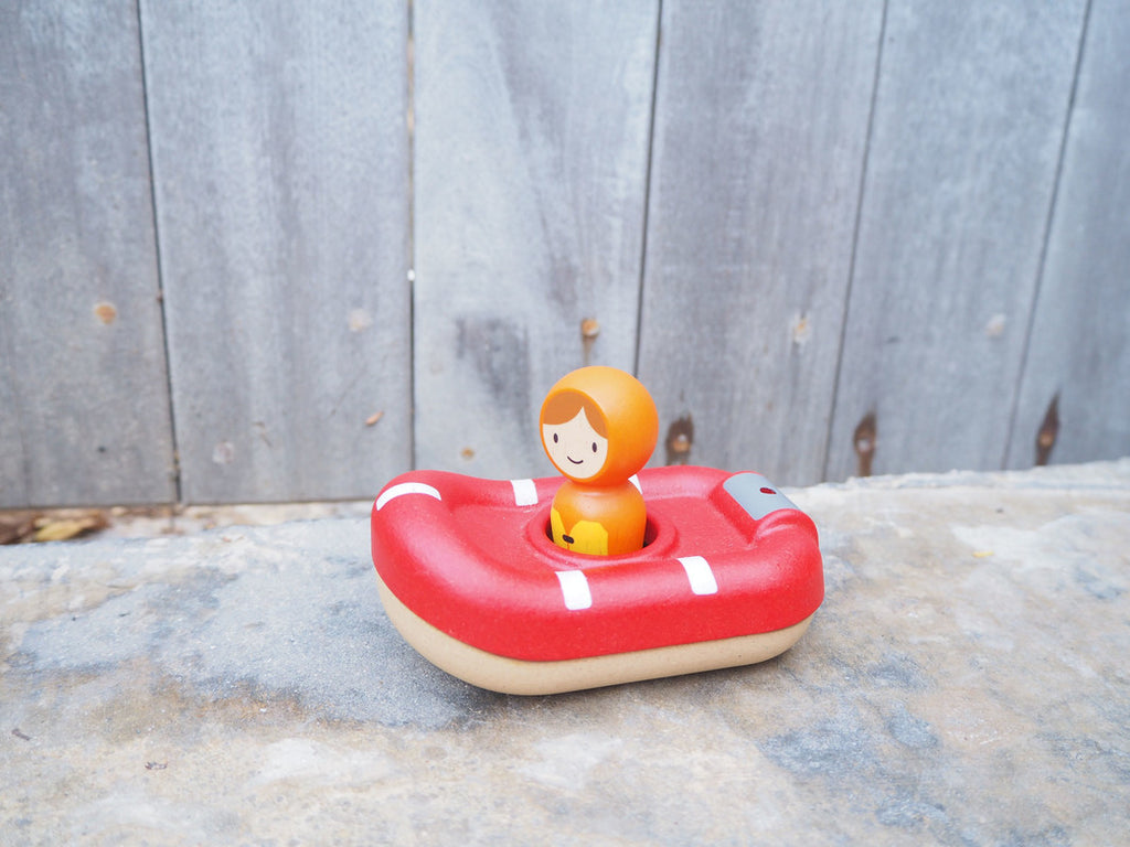 PlanToys Wooden Coast Guard Boat