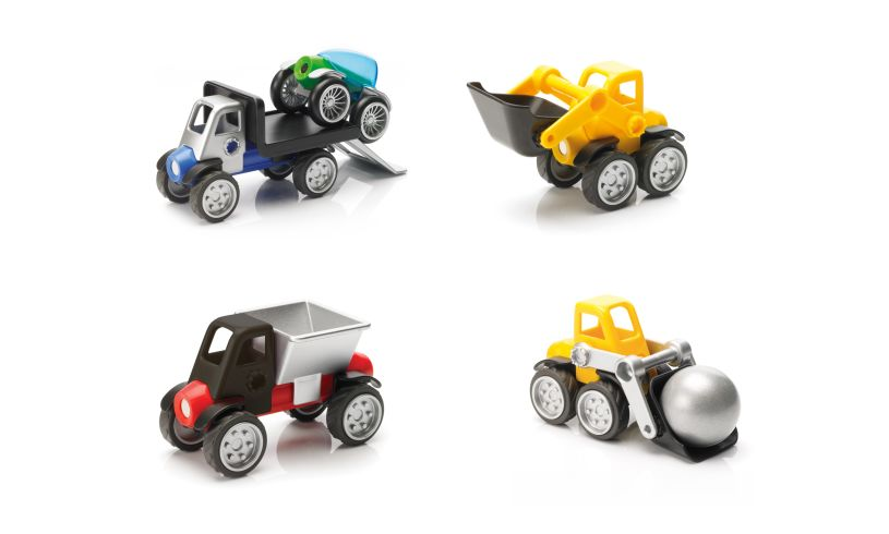 Power Vehicles Mix By Smartmax - A Magnetic Discovery Building Set Featuring Safe, Extra-Strong, Oversized Building Pieces for Ages 3+