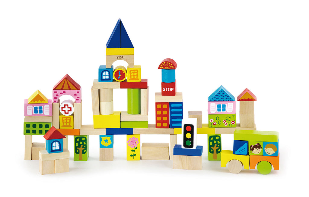 Viga Wooden Block Set - City (75Pcs)