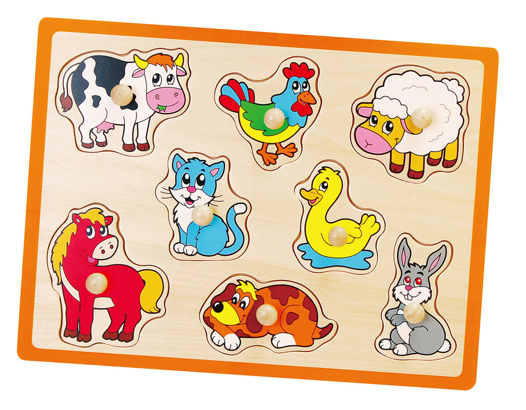 Viga Wooden Flat Puzzle - Farm Animals