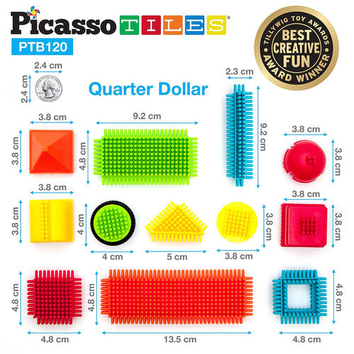 PicassoTiles Bristle 3D Shape Building Blocks Set Size: PTB120 120 Pieces