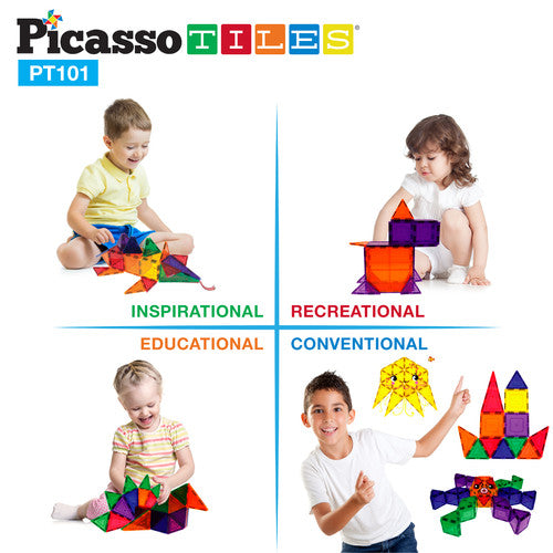 PicassoTiles 3D Magnetic Building Block Tiles Set Size: PT101 101 Piece Set