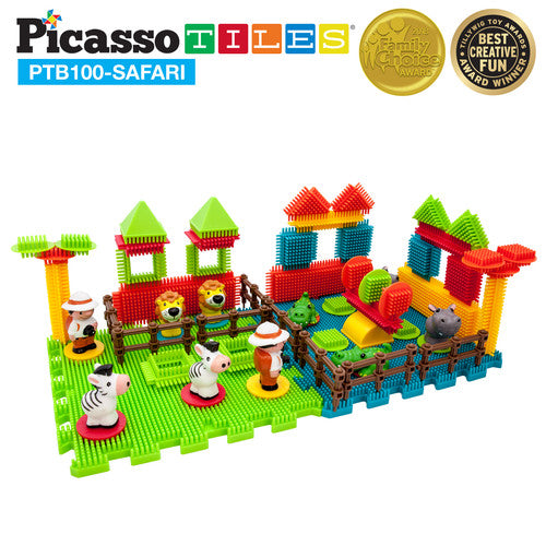 PicassoTiles Bristle 3D Shape Building Blocks Set Size: PTB100-SAFARI 100 Pieces Safari Set