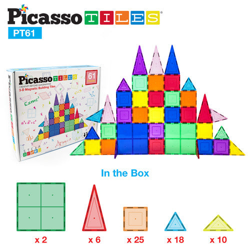 PicassoTiles 3D Magnetic Building Block Tiles Set Size: PT61 61 Piece Set