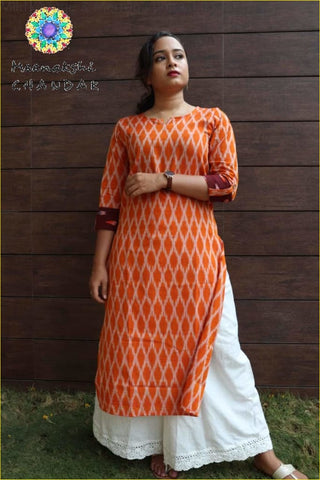 Mild Orange & Merron Contrast Ikkat Stylish Kurta Kurtas