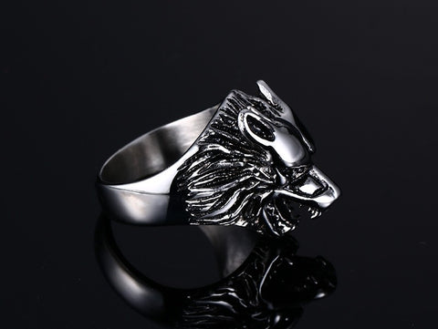 Vintage Stainless Steel Ring Wolf Head