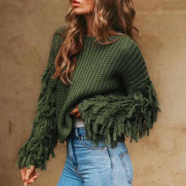 TASSEL O-NECK KNITTED SWEATER