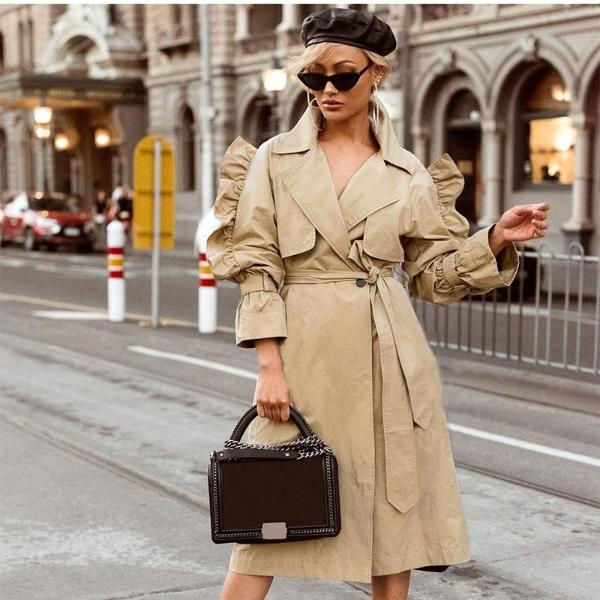 SIDE RUFFLED TRENCH COAT