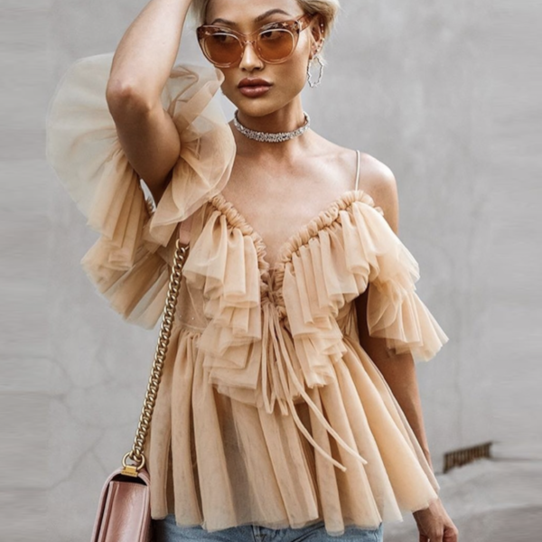 COLD SHOULDER TULLE BLOUSE